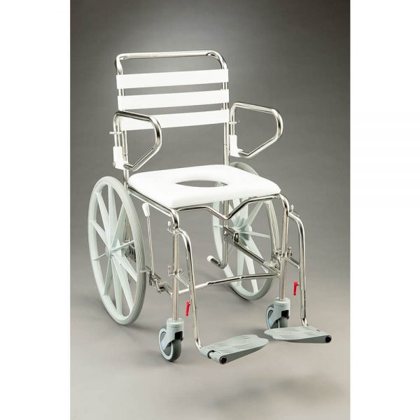 Shower Commode Stainless Steel Self Propelled with padded seat, pan and pan carrier
