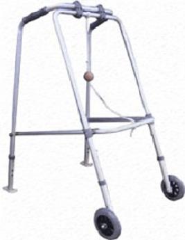 Walking Frame Folding - 2 wheels and 2 sliders